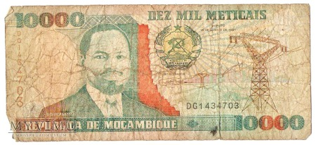 10000 Metical, Mozambik, 1991 rok.