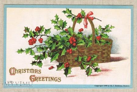 1908 Wesołych Świąt kosz z ostrokrzewem