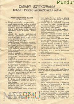 Maska przeciwgazowa MP-4 instrukcja