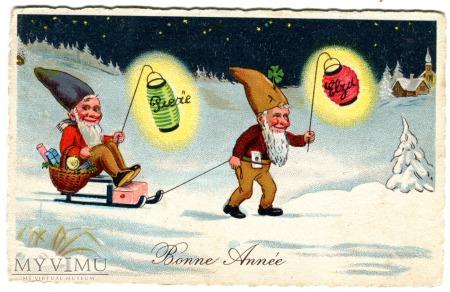 1938 NOWY ROK Skrzaty, sanki i lampki