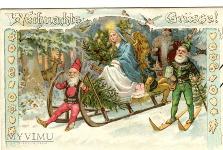 1897 Krasnale Anioł Św. Mikołaj Santa Claus