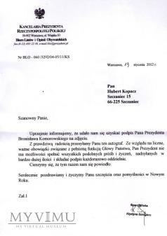 Podpis Bronisława Komorowskiego