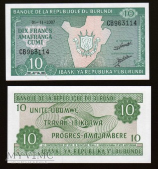 Burundi - P 33 - 10 Francs - 2007