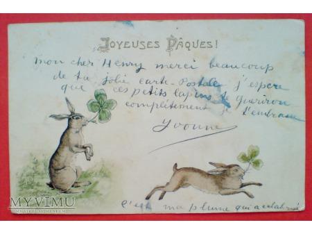 1904 Wielkanoc Francja Króliczki i koniczynki