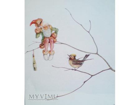 Fantasy Krasnal na gałęzi i ptaszek tuż obok...