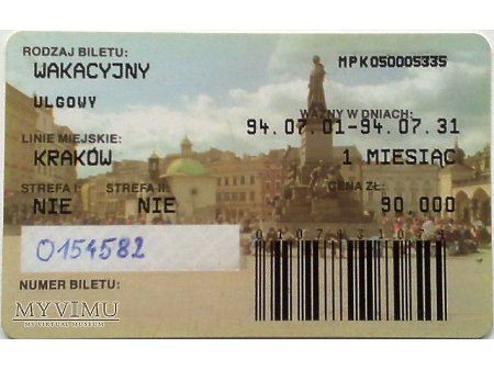 Bilet MPK Kraków 2