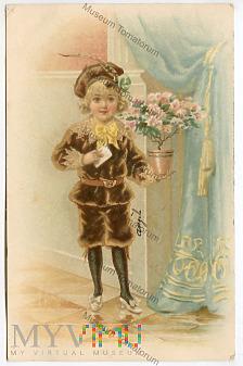 Posłaniec z listem i kwiatami - 1904