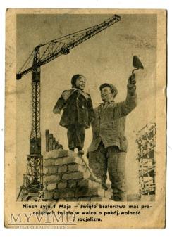 Duże zdjęcie 1 Maja Święto Ludzi Pracy Bolesław Bierut KARTKA