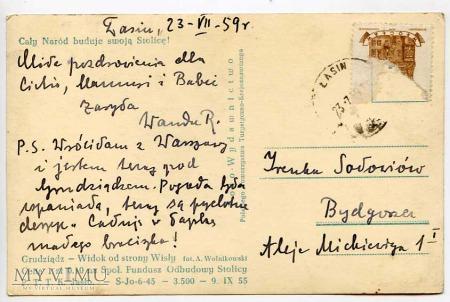 Grudziądz 1955 - Ratusz od stron Wisły