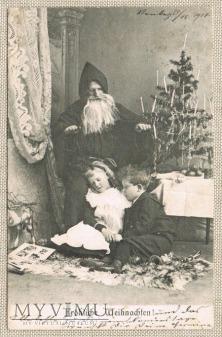 23.12.1904 rok Mikołaj choinka śpiące dzieci
