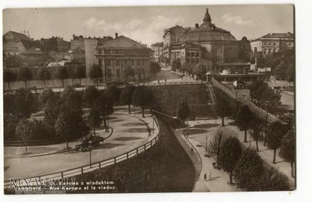 Warszawa ul. Karowa z wiaduktem pocztówka