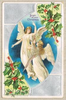 Wesołych Świąt dwa anioły ostrokrzew