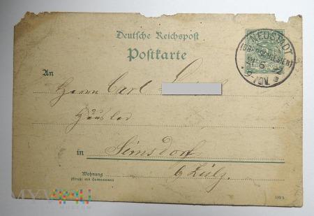 Kartka z Neustadt 1892 roku