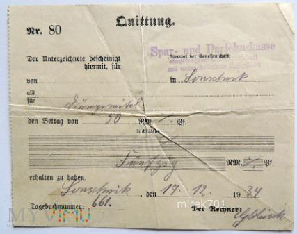 Quittung Lonschnik 1934
