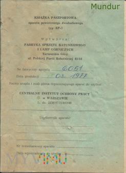 Książka paszportowa aparatu powietrznego typ AP-3