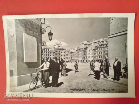 Warszawa Stare Miasto człowiek z rowerem