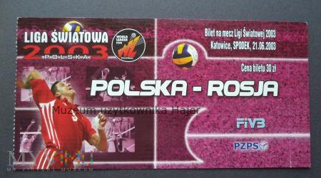 Polska - Rosja piłka siatkowa bilet 2003 rok