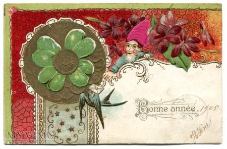 Duże zdjęcie 1905 NOWY ROK Krasnal czterolistna koniczynka