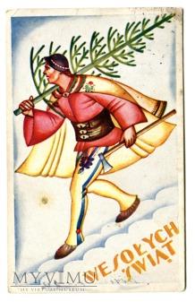 Duże zdjęcie 1937 Wacław Boratyński Góral z choinką Święta