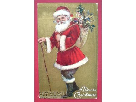 Święty Mikołaj z workiem prezentów Święta USA