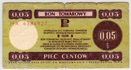 Bon Towarowy PeKaO - B26b - 5 Centów - 1979