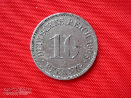 10 pfennig 1908 rok