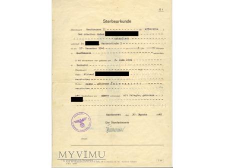 Sterbeuerkunde Mauthausen II - metryka zgonu