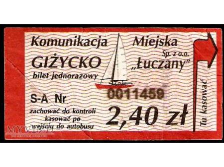 Bilet komunikacji miejskiej z Giżycka.
