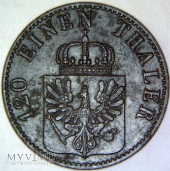 Wilhelm I Hohenzollern 1861-1888- 3 PFENNIG 1865 A