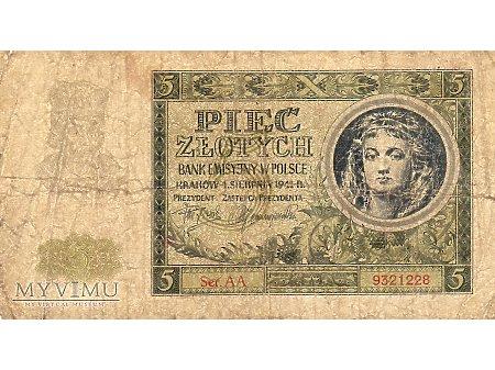 5 Złotych 01.08.1941 r.