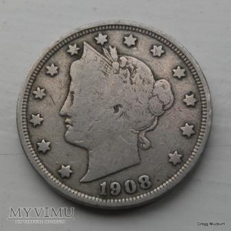 USA 5 Cents 1908 Liberty