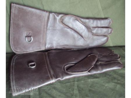 Duże zdjęcie Rękawice skórzane brązowe z długim mankietem