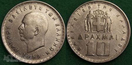 Grecja, 10 Drachm 1959