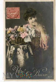 Pocztówka artystyczna - Pocałunek - 1907