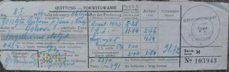 Pokwitowanie zapłaty podatku gruntowego 1943