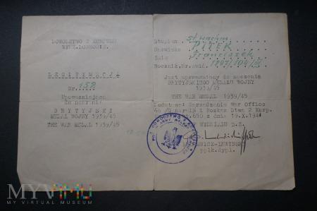 Legitymacja do Brytyjskiego Medalu Wojny 39/45