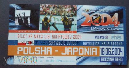 Polska - Japonia piłka siatkowa bilet 2004 rok