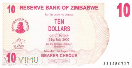 Zimbabwe - 10 dolarów (2006)