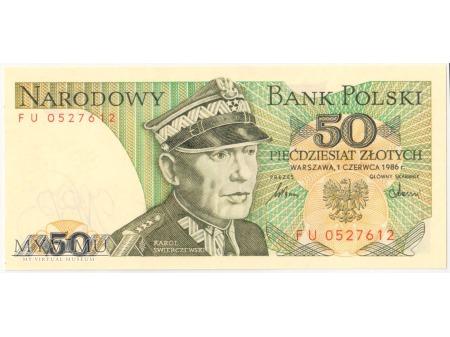Duże zdjęcie 50 złotych 1986 rok seria FU