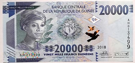 Gwinea 20 000 franków 2018