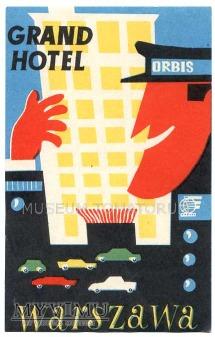 Duże zdjęcie Nalepka hotelowa - Warszawa - Grand Hotel