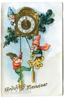 Duże zdjęcie 1932 NOWY ROK Skrzaty, Zegar i odliczanie