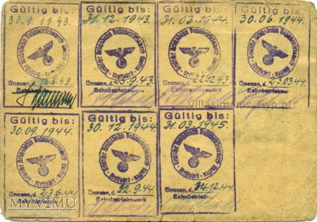 Deutsche Reichsbahn - Legitymacja