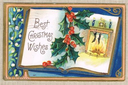 1909r. Najlepsze życzenia świąteczne kominek zegar