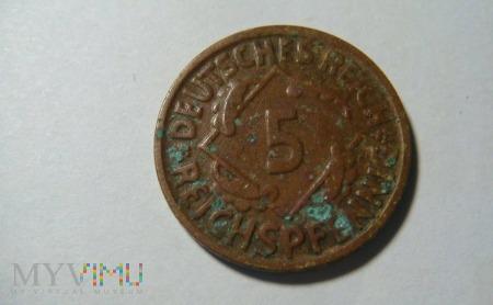 5 Reichspfennig 1925 D, Republika Weimarska