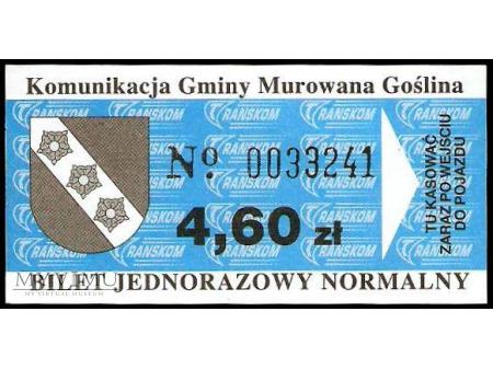 Bilet komunikacji miejskiej z Murowanej Gośliny.