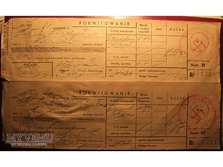 Duże zdjęcie Pokwitowania zapłaty podatku z okresu II wojny