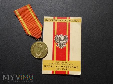 Legitymacja nadanie medalu Za Warszawę