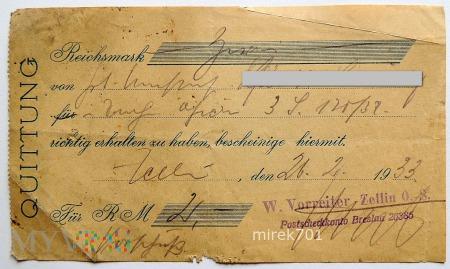 Quittung W. Vorreiter Zellin O.S. 1933