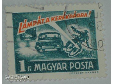 Węgierski znaczek z samochodami i motocyklem